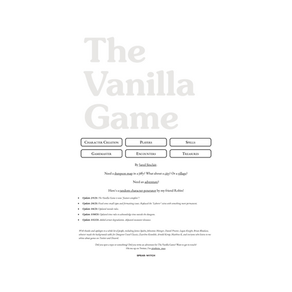 The Vanilla Game