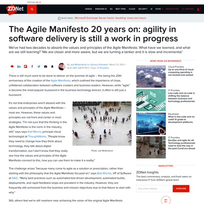 The Agile Manifesto 20 years on: agility in software delivery is still a work in progress - ZDNet