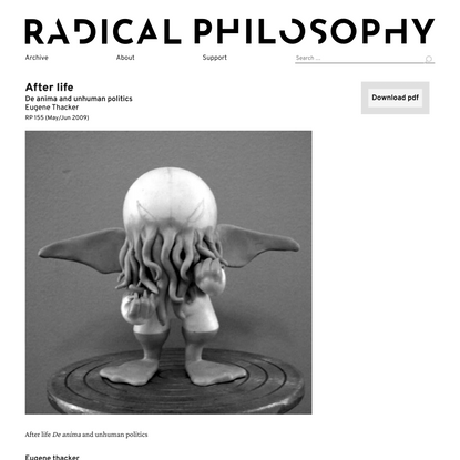 Eugene Thacker: After life / Radical Philosophy