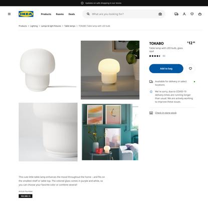 TOKABO Table lamp with LED bulb, glass opal - IKEA