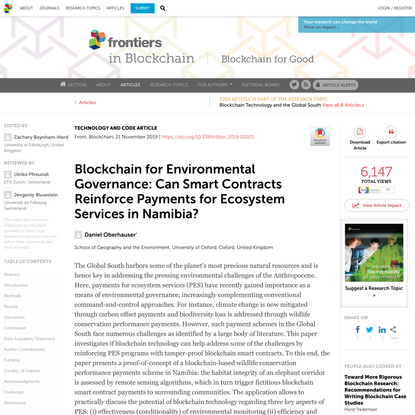 Blockchain for Environmental Governance: Can Smart Contracts Reinforce Payments for Ecosystem Services in Namibia?