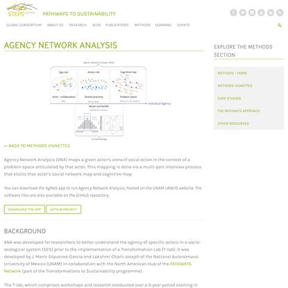 Agency Network Analysis - STEPS Centre