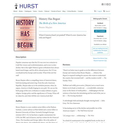 History Has Begun | Hurst Publishers
