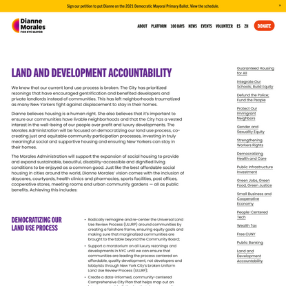 Land and Development Accountability — Dianne Morales for NYC Mayor