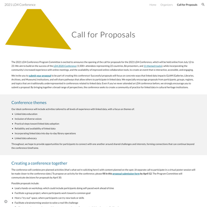 2021 LD4 Conference - Call for Proposals
