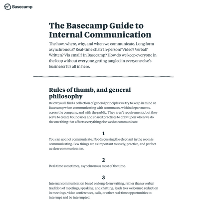 Guide to Internal Communication, the Basecamp Way