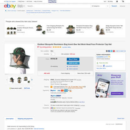 Outdoor Mosquito Resistance Bug Insect Bee Net Mesh Head Face Protector Cap Hat   eBay