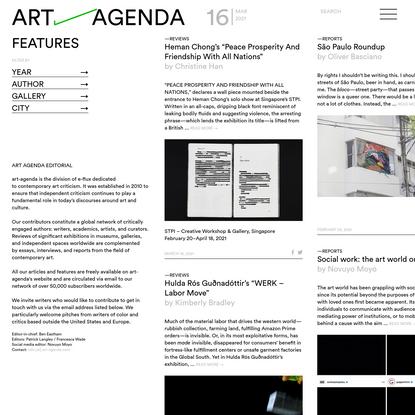 Features - art-agenda