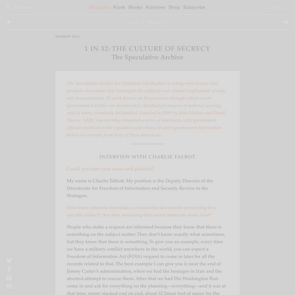 1 in 32: The Culture of Secrecy | The Speculative Archive