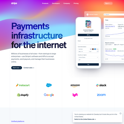 Online payment processing for internet businesses - Stripe