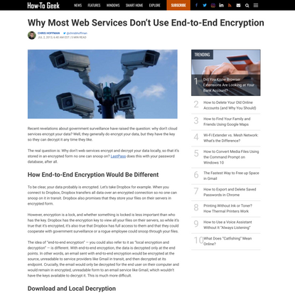 Why Most Web Services Don't Use End-to-End Encryption