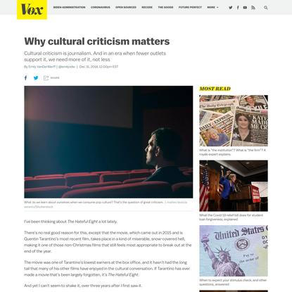 Why cultural criticism matters - Vox