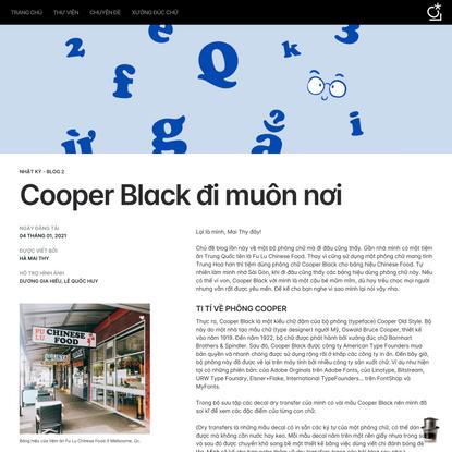 Blog 2: Cooper Black đi muôn nơi   Lưu Chữ