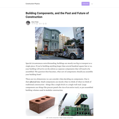 Building Components, and the Past and Future of Construction