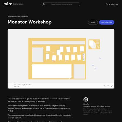 Nina Torr's Monster Workshop template | Miroverse