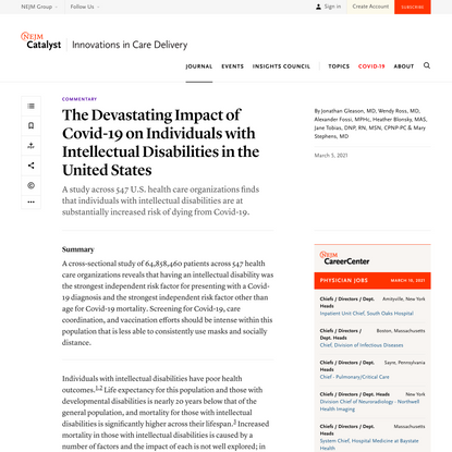 The Devastating Impact of Covid-19 on Individuals with Intellectual Disabilities in the United States