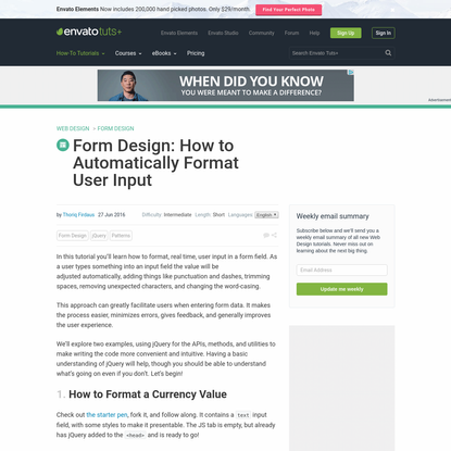 Form Design: How to Automatically Format User Input