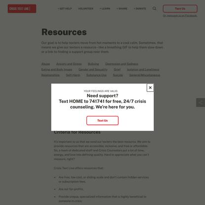 Resources - Crisis Text Line