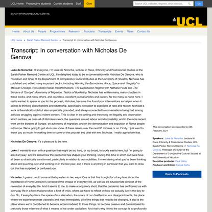 Transcript: In conversation with Nicholas De Genova