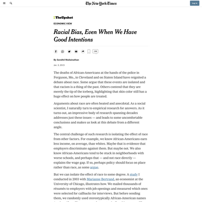 Racial Bias, Even When We Have Good Intentions (Published 2015)