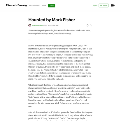 Haunted by Mark Fisher