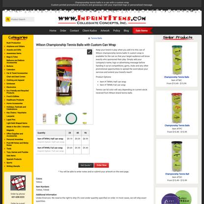 Wilson Championship Tennis Balls with Custom Can Wrap - ImprintItems.com Custom Printed Promotional Products