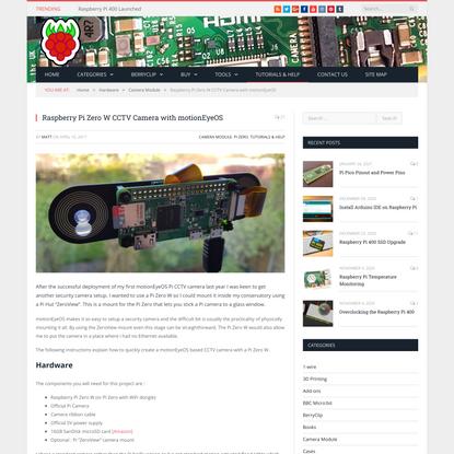 Raspberry Pi Zero W CCTV Camera with motionEyeOS - Raspberry Pi Spy