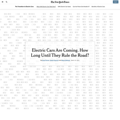 Electric Cars Are Coming. How Long Until They Rule the Road?