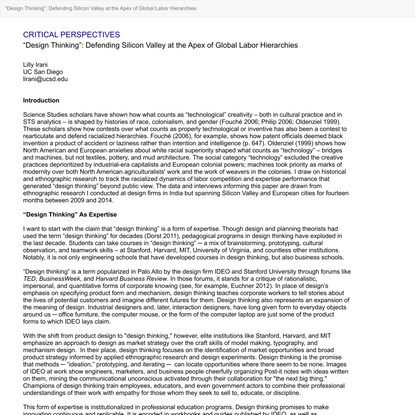 """View of """"Design Thinking"""": Defending Silicon Valley at the Apex of Global Labor Hierarchies   Catalyst: Feminism, Theory, Te..."""