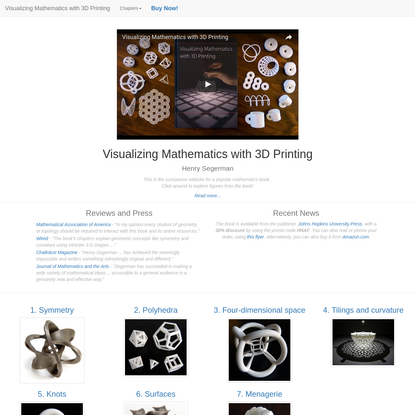 Visualizing Mathematics with 3D Printing