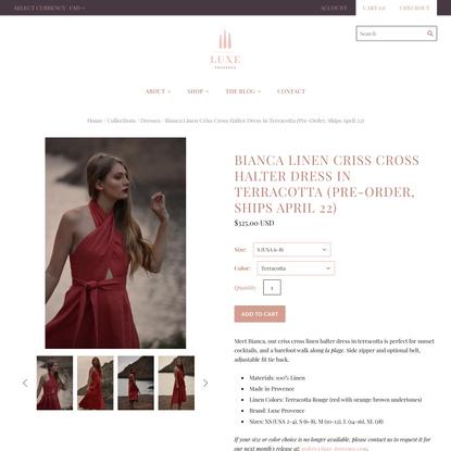 Bianca Linen Criss Cross Halter Dress in Terracotta (Pre-Order, Ships
