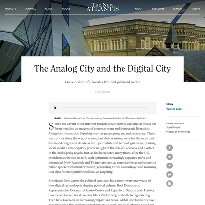 The Analog City and the Digital City — The New Atlantis
