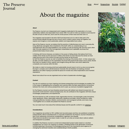 The Preserve Journal — About the magazine