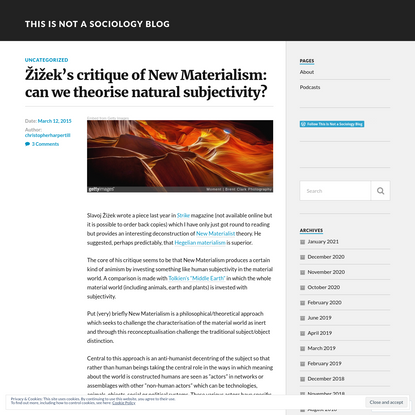 Žižek's critique of New Materialism: can we theorise natural subjectivity?