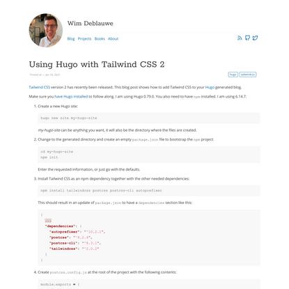 Using Hugo with Tailwind CSS 2