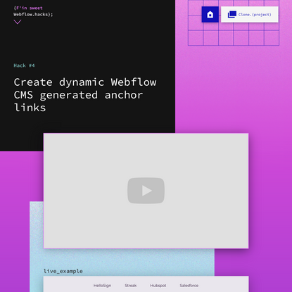 Create dynamic Webflow CMS generated anchor links