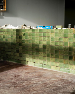 Work-in-progress shot of green-glazed brick counter for The Greenhouse, Auckland