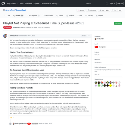 Playlist Not Playing at Scheduled Time Super-Issue · Issue #2631 · AzuraCast/AzuraCast