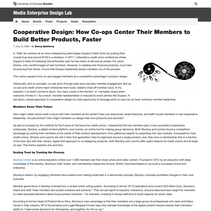 Cooperative Design: How Co-ops Center Their Members to Build Better Products, Faster | Media Enterprise Design Lab | Univers...