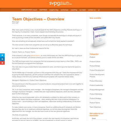 Team Objectives - Overview | Silicon Valley Product Group
