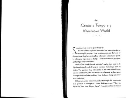 "Priya Parker, *On Gathering*, Ch. 4 ""Create a Temporary Alternative World"""