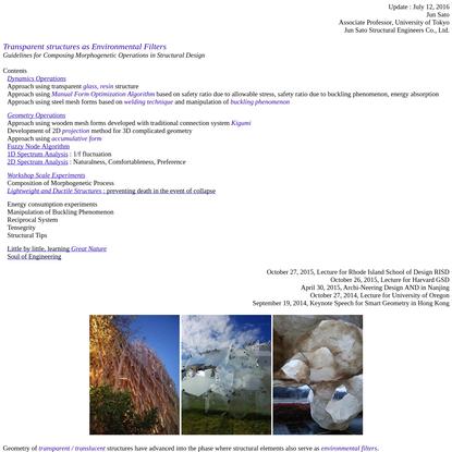Jun Sato, Transparent Structures as Environmental Filters