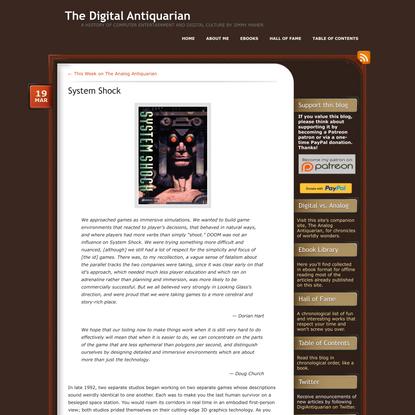 » System Shock The Digital Antiquarian