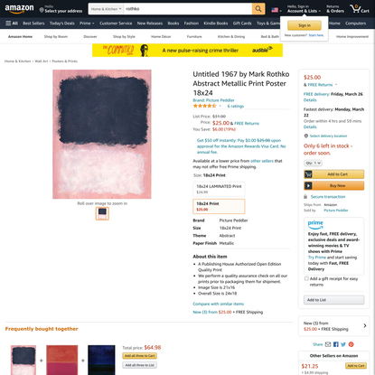 Untitled 1967 by Mark Rothko Abstract Metallic Print Poster 18x24