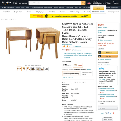 LASUAVY Bamboo Nightstand Stackable Side Table End Table Bedside Tables for Living Room/Bedroom/Nursery Room/Laundry Room/St...
