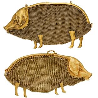 18 Karat Gold Mesh Pig Purse, c. 1900