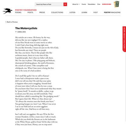 The Motorcyclists by James Tate | Poetry Foundation