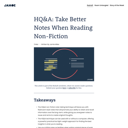 HQ&A: Take Better Notes When Reading Non-Fiction — Jamoe