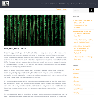 KPIS, KSFs, OKRs… WTF? - TENZING Strategic