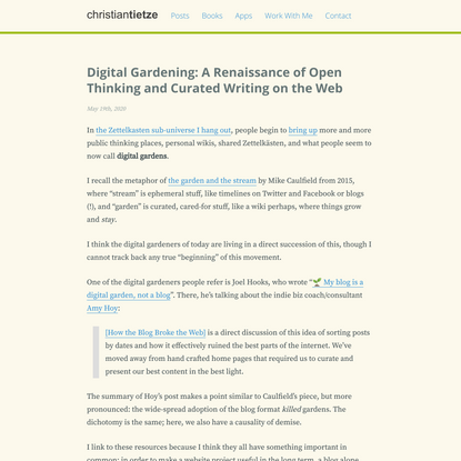 Digital Gardening: A Renaissance of Open Thinking and Curated Writing on the Web